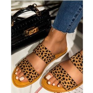 Shoes - Cheetah Print Double Band Sandals